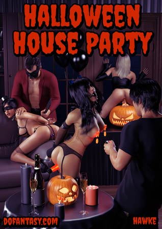Halloween house party, pain art by Hawke